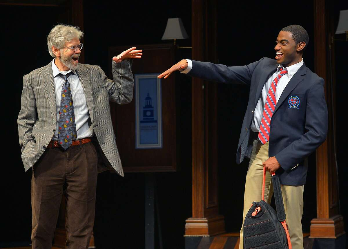 Choir Boy 2.jpg Teacher/choir sponsor Mr. Pendleton (Charles Shaw Robinson, left) and student Pharus (Jelani Alladin) confer in the Bay Area premiere of Tarrell Alvin McCraney's