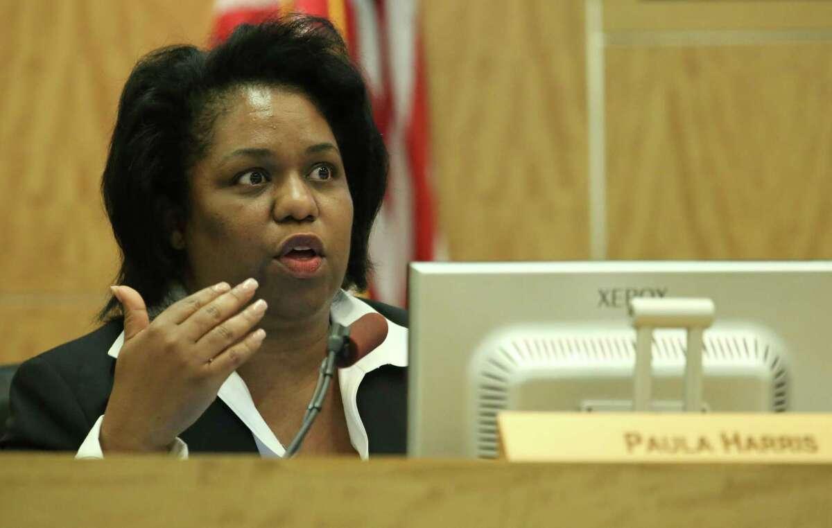 In this June 2015 file photo, Houston ISD board member Paula Harris speaks during an HISD School Board meeting in Houston.