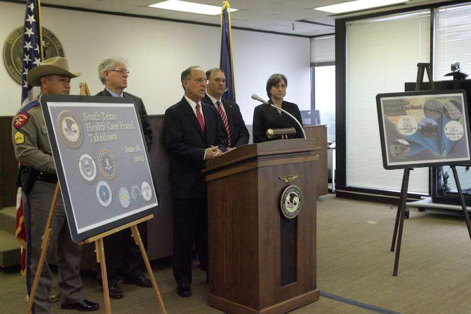 Federal prosecutor Kenneth Magidson announces the Medicare and Medicaid fraud charges in McAllen. Photo: Delcia Lopez /(McAllen) Monitor / Delcia Lopez photography