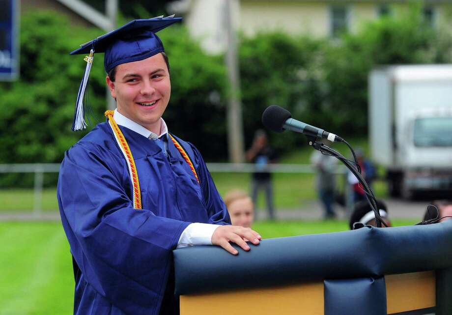 Class Salutatorian Ryan Cafaro, during Ansonia High School's Class of 2015 Commencement Exercises in Ansonia, Conn., on Thursday June 18, 2015. Photo: Christian Abraham, Hearst Connecticut Media / Connecticut Post