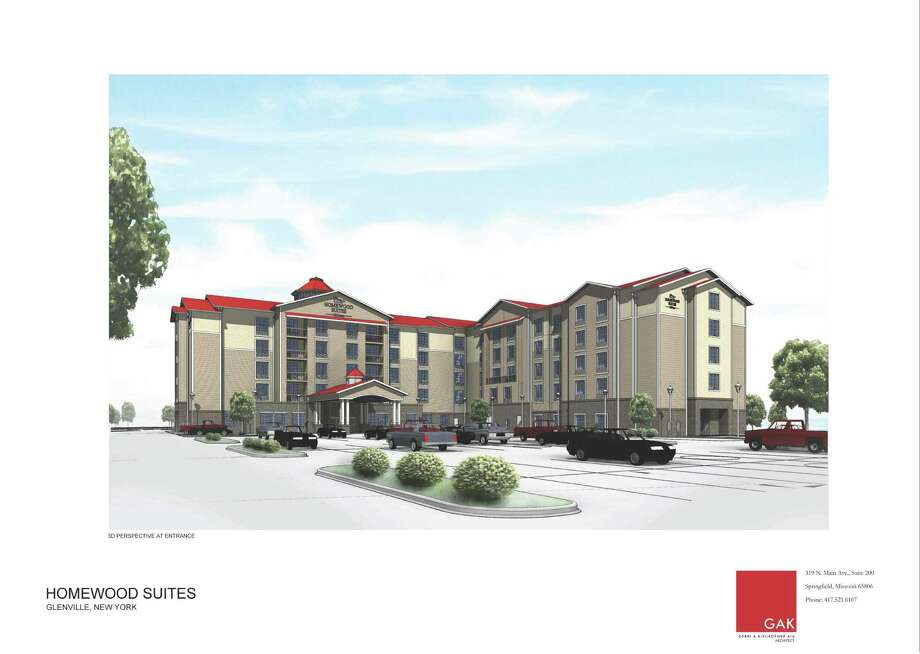 A rendering of the Homewood Suites project in Glenville.