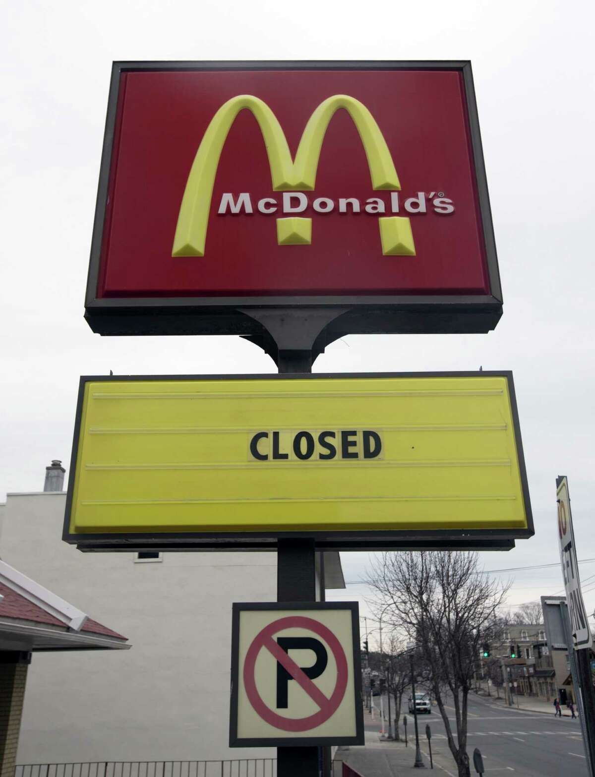 FILE - In this April 8, 2015, file photo, a seasonal McDonald's is closed for the winter in Lake George, N.Y. For the first time in more than 40 years, and perhaps ever, the number of McDonalds restaurants in the U.S. is shrinking. (AP Photo/Mike Groll, File) ORG XMIT: NYBZ107