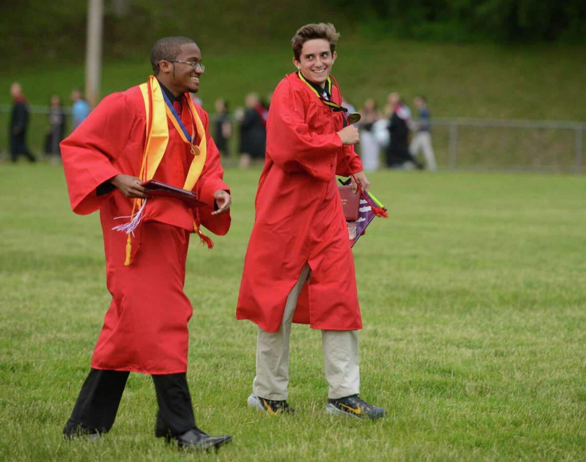 Derby High School holds its commencement ceremony Thursday, June 18, 2015 on Lou DeFilippo Field in Derby, Conn.