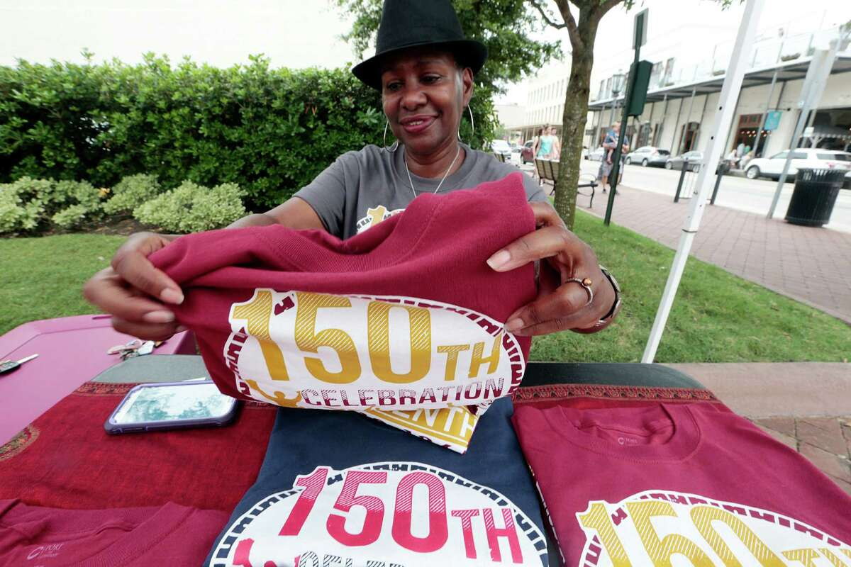 Leah Fanuiel is selling T-shirts in celebration of the 150th anniversary of when Texas slaves were freed.