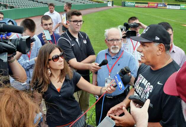 Tri-City ValleyCats manager Ed Romero, right, speaks with reporters during Media Day Joe Bruno Stadium Thursday June 19, 2015 in Troy, NY.  (John Carl D'Annibale / Times Union) Photo: John Carl D'Annibale / 00032315A