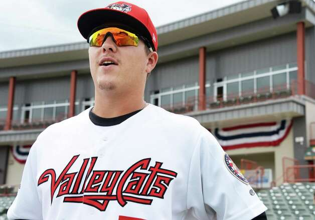 Tri-City ValleyCats infielder Brooks Marlow during Media Day Joe Bruno Stadium Thursday June 19, 2015 in Troy, NY.  (John Carl D'Annibale / Times Union) Photo: John Carl D'Annibale / 00032315A