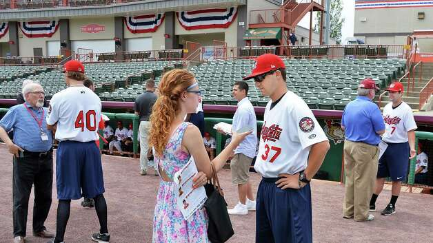 Tri-City ValleyCats players speak with reporters during Media Day Joe Bruno Stadium Thursday June 19, 2015 in Troy, NY.  (John Carl D'Annibale / Times Union) Photo: John Carl D'Annibale / 00032315A