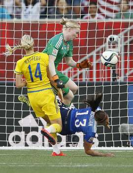 Sweden goalkeeper Hedvig Lindahl (1) saves the header from United States' Alex Morgan (13) as Sweden's Amanda Ilestedt (14) defends during second-half FIFA Women's World Cup soccer game action in Winnipeg, Manitoba, Canada, Friday, June 12, 2015. (John Woods/The Canadian Press via AP) MANDATORY CREDIT