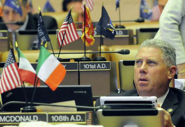 Assemblymember John McDonald cast his vote as New York State Assembly members passed bills during session at the Capitol on Thursday June 18, 2015 in Albany, N.Y.  (Michael P. Farrell/Times Union) Photo: Michael P. Farrell / 00032332A