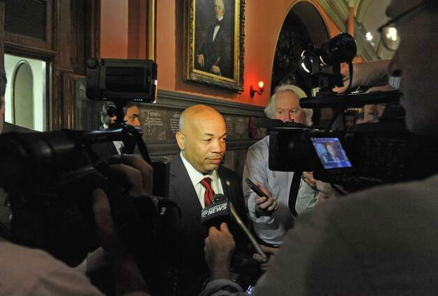 Speaker of the New York State Assembly Carl E. Heastie comes out of a meeting with Governor Andrew Cuomo  at the Capitol on Thursday June 18, 2015 in Albany, N.Y.  (Michael P. Farrell/Times Union) Photo: Michael P. Farrell / 00032332A