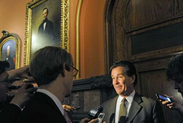 Senate Majority Leader John Flanagan comes out of a meeting with Governor Andrew Cuomo at the Capitol on Thursday June 18, 2015 in Albany, N.Y.  (Michael P. Farrell/Times Union) Photo: Michael P. Farrell / 00032332A