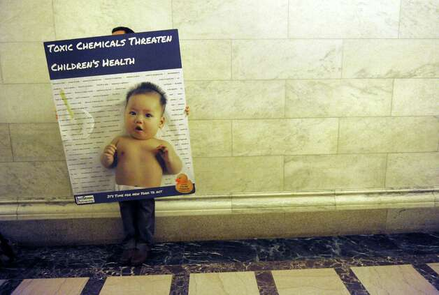David Ames with Clean and Healthy New York hits the halls in support of the child safe product act at the Capitol on Thursday June 18, 2015 in Albany, N.Y.  (Michael P. Farrell/Times Union) Photo: Michael P. Farrell / 00032332A