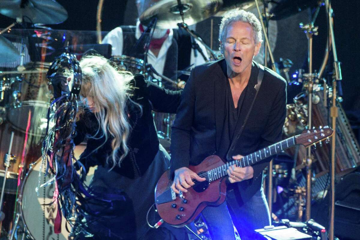 Stevie Nicks and Lindsey Buckingham from Fleetwood Mac perform on Day 4 of the Isle of Wight Festival at Seaclose Park on June 14, 2015 in Newport, Isle of Wight.