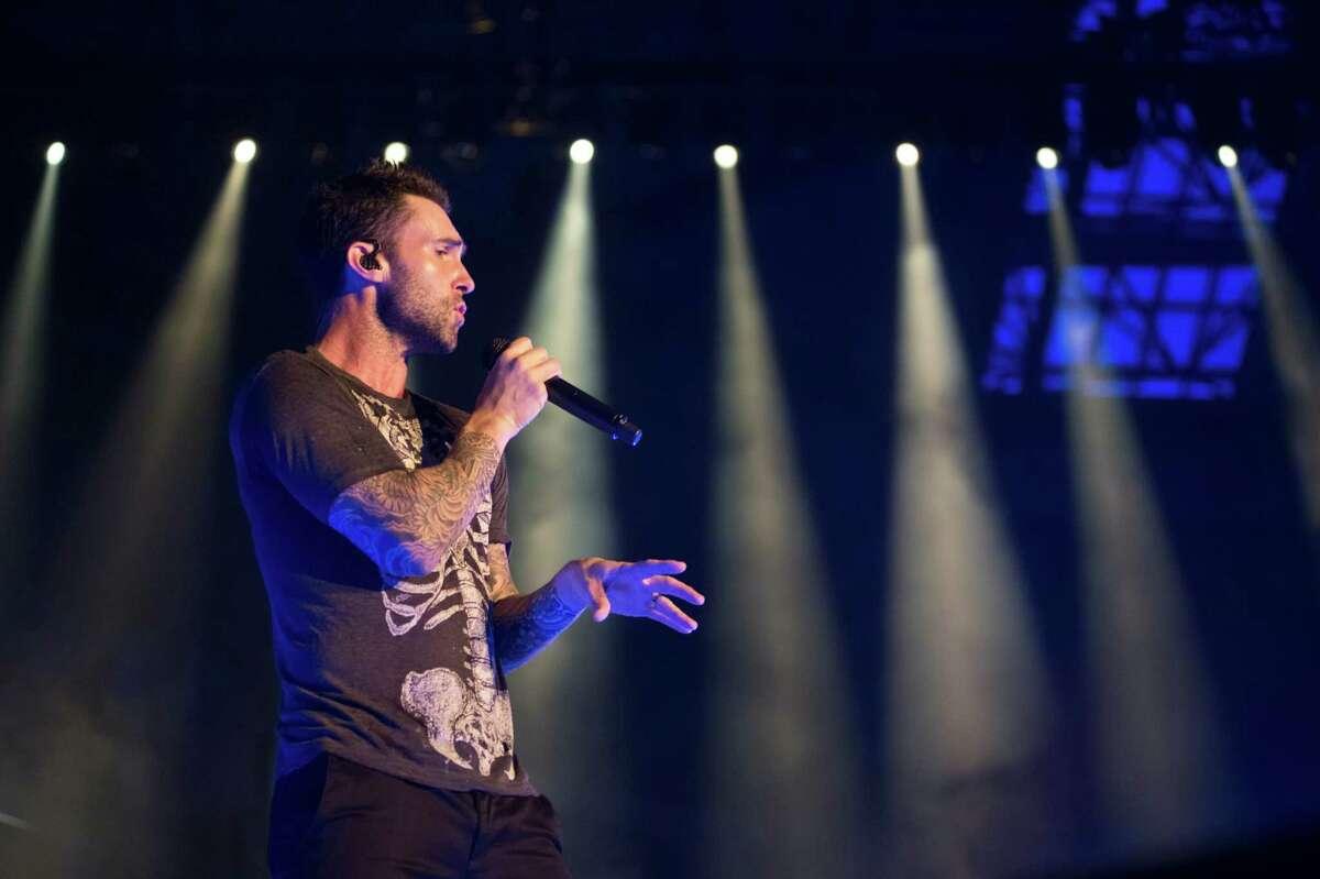 Adam Levine of Maroon 5 performs on stage at Palau Sant Jordi on June 14, 2015 in Barcelona, Spain.
