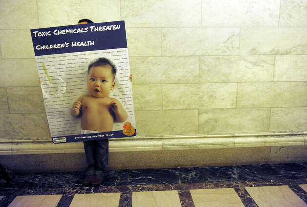 David Ames with Clean and Healthy New York hits the halls in support of the child safe product act at the Capitol on Thursday June 18, 2015 in Albany, N.Y.  (Michael P. Farrell/Times Union) Photo: Michael P. Farrell, Albany Times Union / 00032332A