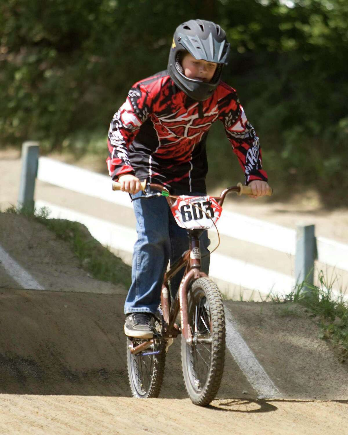 Jimmy Godfrey, 11, of Bethel, competes in the Northeast Regional BMX Championships in August 2010 at the BMX course at Mitchell Park in Bethel.