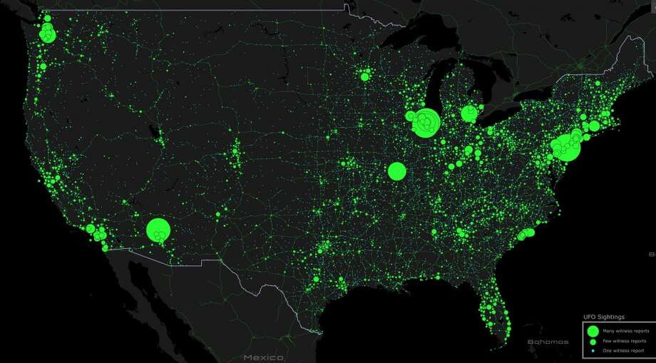 "This is a map of the more than 90,000 reported UFO sightings since 1905 gathered by the National UFO Reporting Center. The map was created by data wonk Max Galka at Metrocosm. Dot size illustrates the number of reports for each sighting ... the bigger the dot, the more reports of a particular UFO. The next 10 slides in this gallery show the top 10 most-reported UFOs.  Galka writes: ""Assuming more reported sightings = more credible, these are the 10 most credible UFO sightings in recent history in the U.S.""  The top 10 is followed by screen grabs from Galka's interactive map of the major reported sightings along the West Coast. Enjoy."