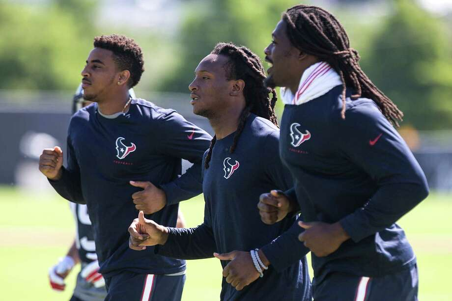 Texans receivers Alan Bonner, left, and DeAndre Hopkins plus outside linebacker Jadeveon Clowney hit their stride. Photo: Brett Coomer, Staff / © 2015 Houston Chronicle