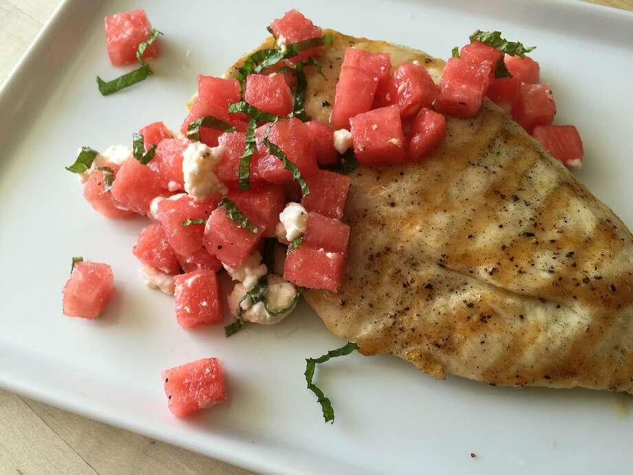 Chicken paillards with watermelon and feta salad Photo: Amanda Gold