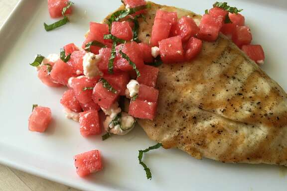 Chicken paillards with watermelon and feta salad