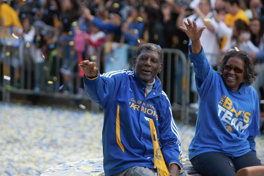 Al Attles waves to the crowd. The Golden State Warriors celebrate their NBA Championship with a parade and rally on June 19, 2015 in Oakland, Calif. Photo: Douglas Zimmerman / SF Gate