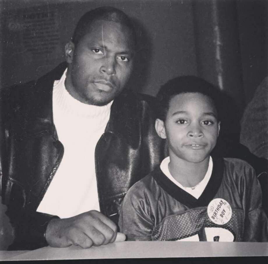 Texans rookie Jaelen Strong with his father, John Rankin. Photo: Courtesy Photo