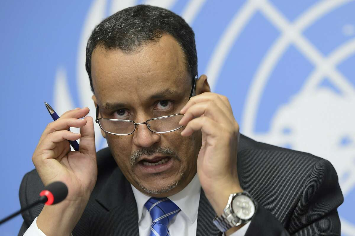 United Nations Special Envoy for Yemen Ismail Ould Cheikh Ahmed speaks during a press conference at the European headquarters of the United Nations, in Geneva, Switzerland, Friday, June 19, 2015. Cheikh Ahmed said peace talks between the exiled Yemeni government and Shiite rebels who control the capital have concluded without reaching an agreement.