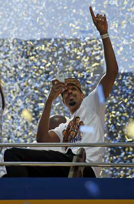 Shaun Livingston during Golden State Warriors' victory parade down Broadway in Oakland, Calif., on Friday, June 19, 2015.