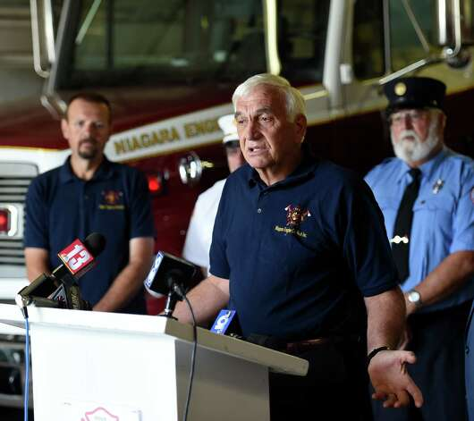 Schoharie Mayor John Borst thanking all who helped obtain the positive outcome of a lengthy process at the announcement of FEMA funds Friday morning June 19, 2015,  to build a new firehouse for the Schoharie Niagara Engine 6 Fire Company       (Skip Dickstein/Times Union) Photo: SKIP DICKSTEIN / 00032335A