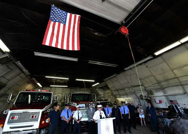 John Wolfe, chairman of the building committee gives thanks at the announcement of FEMA funds Friday morning June 19, 2015,  to build a new firehouse for the Schoharie Niagara Engine 6 Fire Company       (Skip Dickstein/Times Union) Photo: SKIP DICKSTEIN / 00032335A