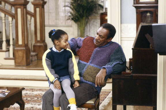 THE COSBY SHOW -- Pictured: (l-r) Keshia Knight Pulliam as Rudy Huxtable, Bill Cosby as Dr. Heathcliff 'Cliff' Huxtable  (Photo by NBC/NBCU Photo Bank via Getty Images)