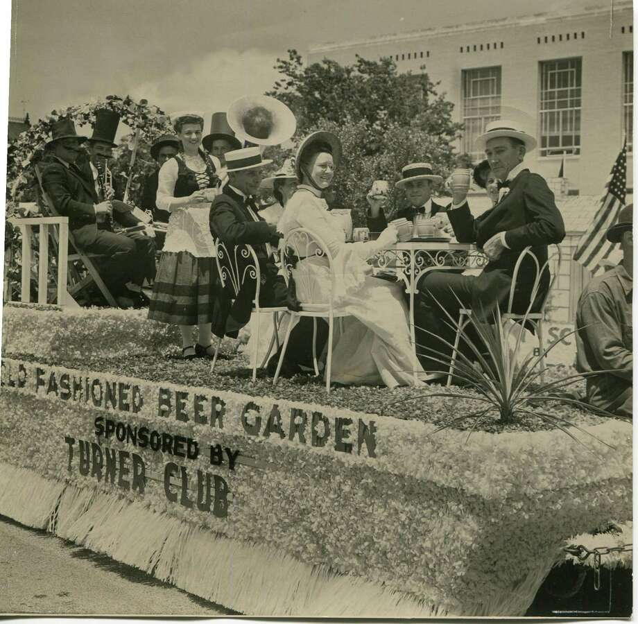 "Fredericksburg, through the years: One of the many colorful floats appearing in the Fredericksburg Centennial parade was the Turner Club ""Old Fashioned Beer Garden."" 1946 Photo: San Antonio Express-News"