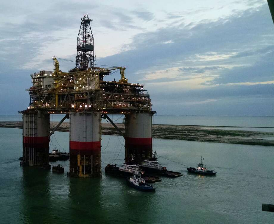 Chevron continues to investigate why a tethering system failed before it could be latched onto the company's massive Big Foot production platform. The setback has delayed the project indefinitely.  (Chevron photo) Photo: Chevron Corp.
