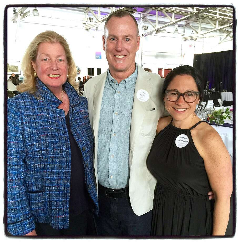 Bonhams Chairman Laura Pfaff (left) with Headlands trustee Chris Deam and Executive Director Sharon Maidenberg at the Headlands Art Auction. Photo: Catherine Bigelow, Special To The Chronicle