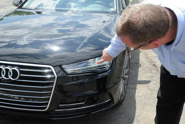 John Bullough of RPI's Lighting Research Center is evaluating the potential for new lighting technologies and approaches to improve driving safety at night, including new car headlight systems on a 2014 European Audi A-7 Quattro on Friday, June 19, 2015, in Troy, N.Y.  (Michael P. Farrell/Times Union) Photo: Michael P. Farrell / 00032348A