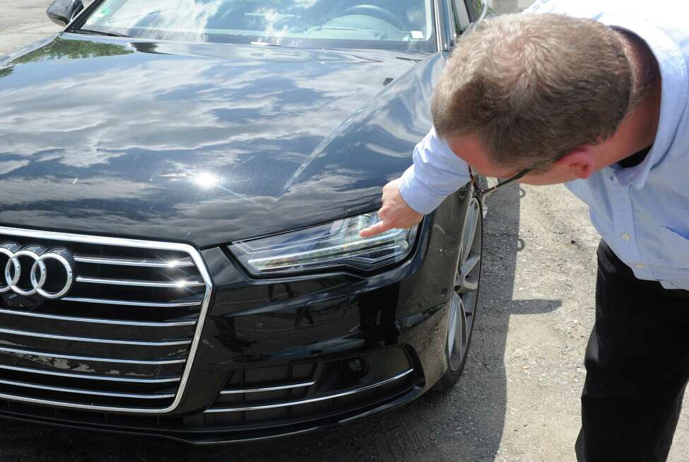 John Bullough of RPI's Lighting Research Center is evaluating the potential for new lighting technologies and approaches to improve driving safety at night, including new car headlight systems on a 2014 European Audi A-7 Quattro on Friday, June 19, 2015, in Troy, N.Y. (Michael P. Farrell/Times Union)