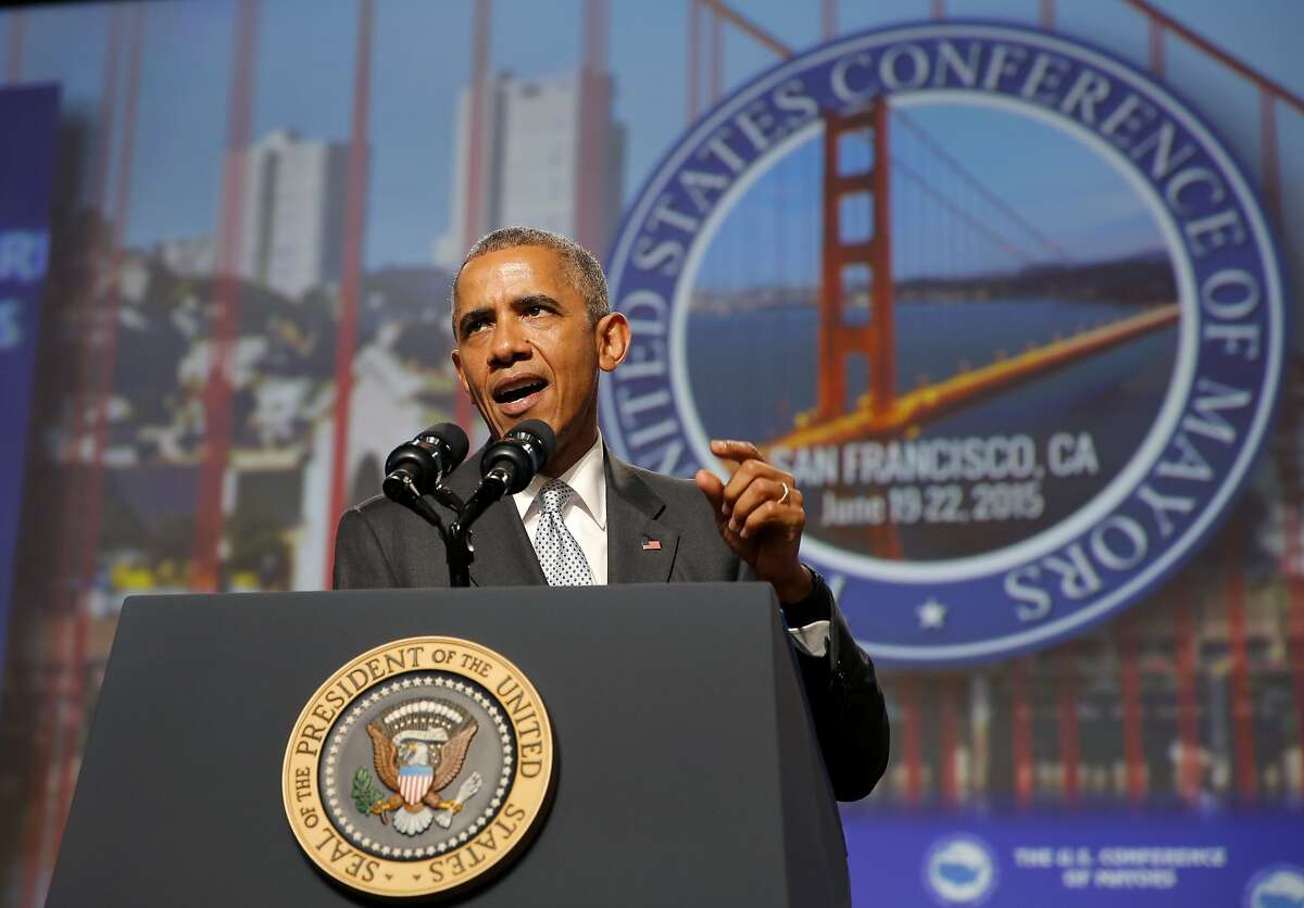 President Barack Obama speaks to a mayor's conference in San Francisco, California, on Friday, June 19, 2015.