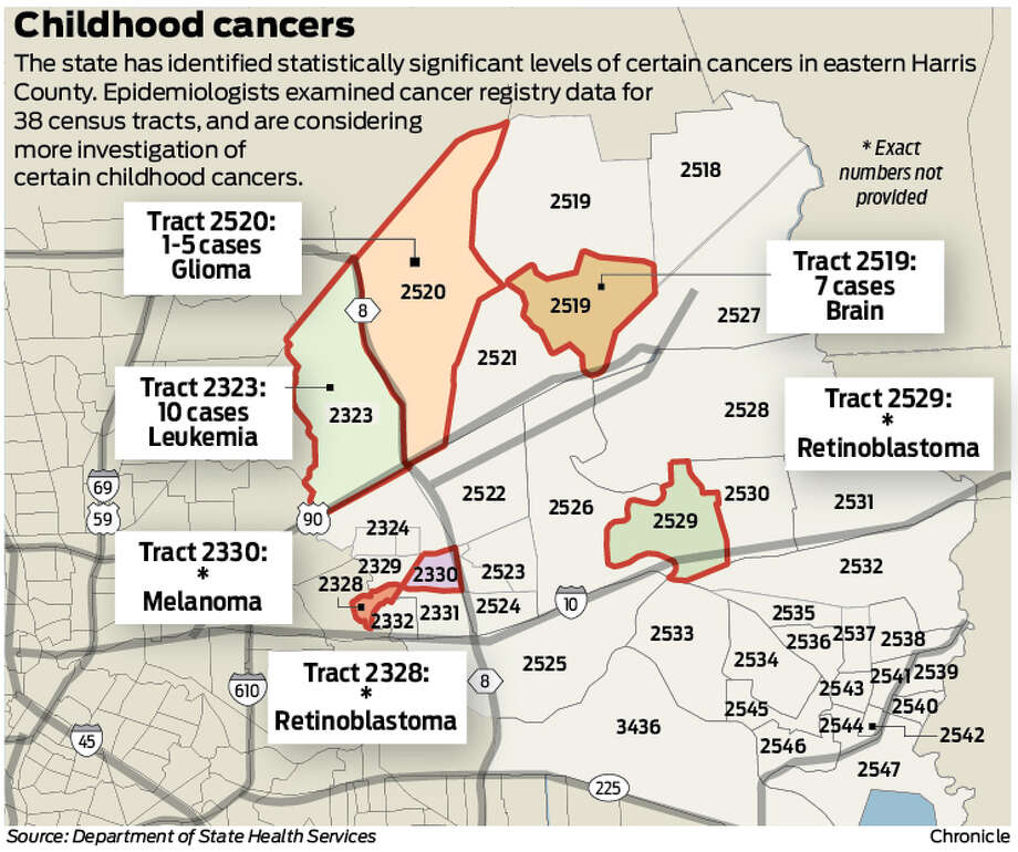 Texas Health Officials Will Further Study Harris County Cancer - Us map of college and university clusters