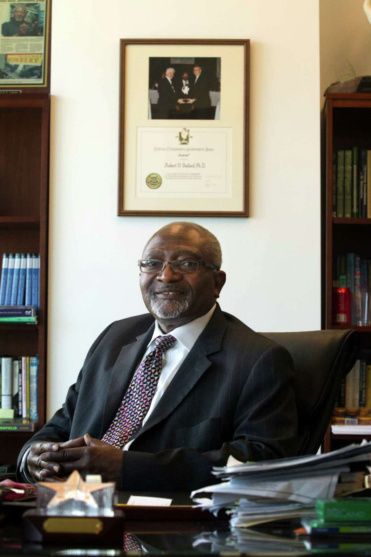 Dean of the Barbara Jordan-Mickey Leland School of Public Affairs at Texas Southern University Dr. Robert D. Bullard poses for a portrait in his office on Tuesday, Oct. 1, 2013, in Houston. ( J. Patric Schneider / For the Chronicle )