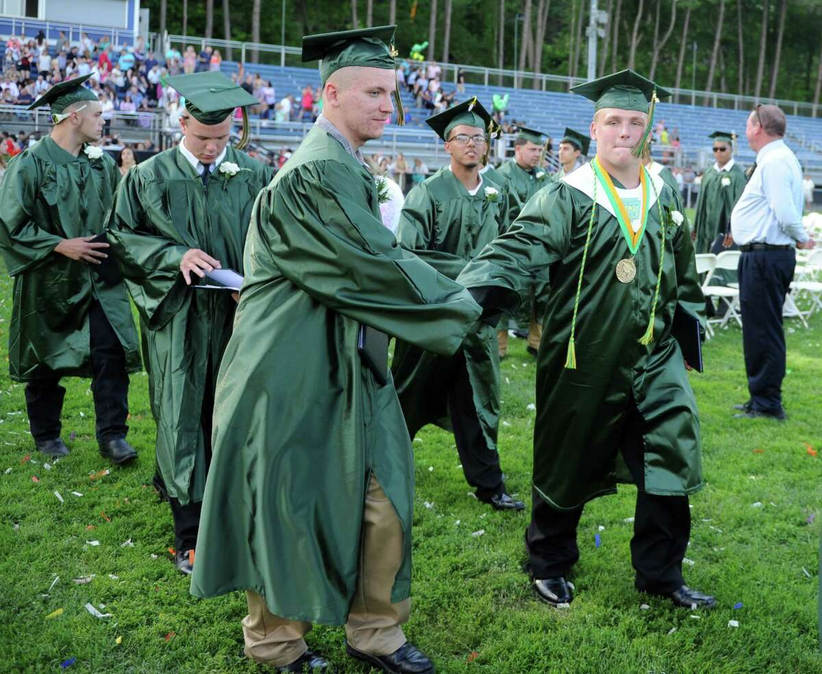 Emmett O'Brien Technical High School holds its commencement ceremony Friday, June 19, 2015 on Nolan Field in Ansonia, Conn.