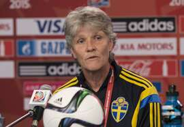 Sweden's coach Pia Sundhage holds a press conference at Lansdowne Stadium in Ottawa on June 19, 2015 on the eve of the squad's Round of 16 2015 FIFA Cananda Women's World Cup football match against Germany.    AFP PHOTO/NICHOLAS KAMMNICHOLAS KAMM/AFP/Getty Images
