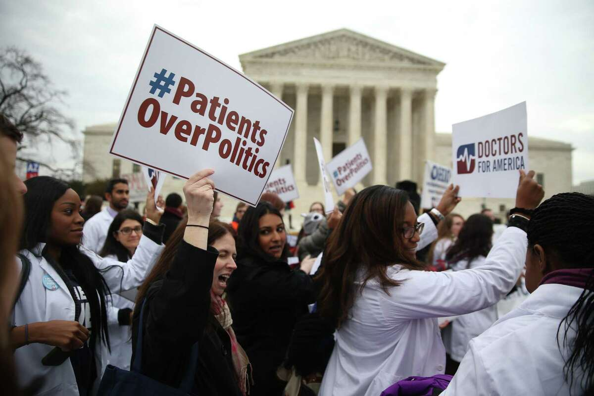 Demonstrations outside the U.S. Supreme Court, where a challenge to the Affordable Care Act was heard in March.