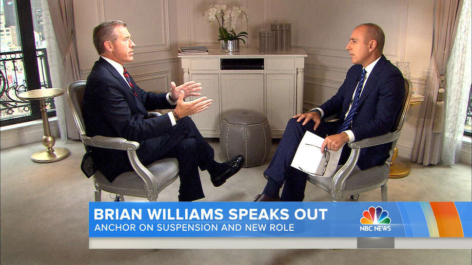"""In this image from video released by NBC News, former """"Nightly News"""" anchor Brian Williams, left, speaks with Matt Lauer for an interview that aired Friday. June 19, 2015. It is Williams' first time speaking publicly since being suspended in February for telling tales about his reporting experiences. (NBC News via AP) Photo: HONS / NBC News"""