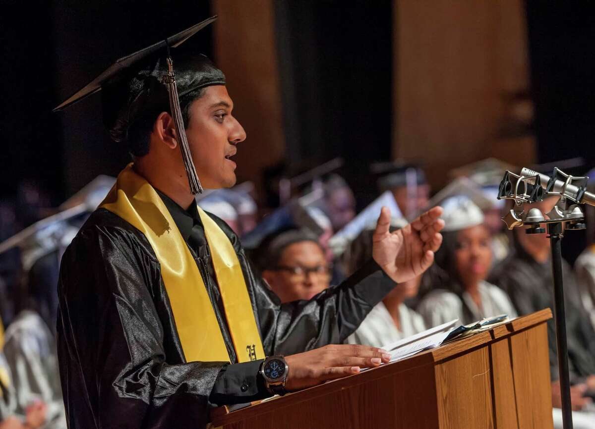 Fahim Absar gives the valedictory address during The Bridge Academy eighteenth annual commencement ceremony held at the Thurgood Marshall Middle School, Bridgeport, CT on Friday, June 19, 2015.