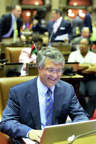 Assemblyman Phil Steck works at his desk during session at the Capitol Friday, June 19, 2015, inAlbany, N.Y.  (John Carl D'Annibale / Times Union) Photo: John Carl D'Annibale / 00032347A