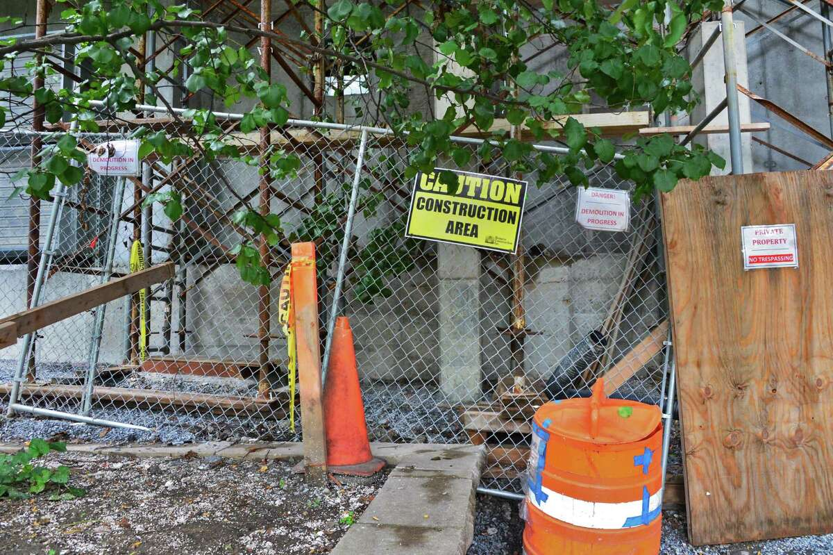 A photo of the construction site behind 422 Broadway taken on Tuesday Sept. 3, 2013, in Saratoga Springs, NY. Police stated that Darryl Mount received injuries by falling about 20 feet from scaffolding at the site. (John Carl D'Annibale / Times Union archive)