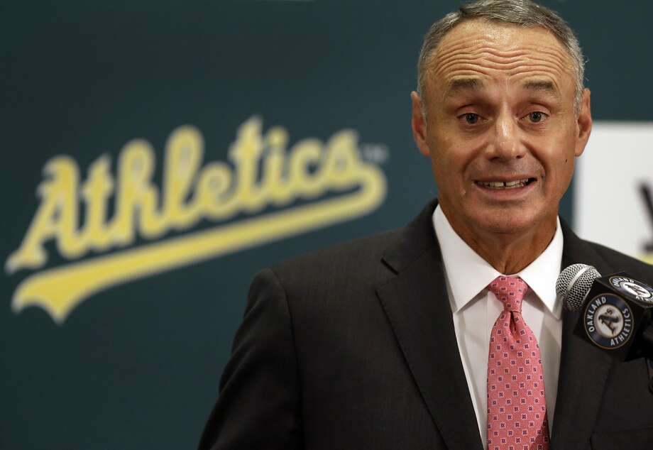 Baseball Commissioner Rob Manfred speaks during a media conference in Oakland on Friday in which he discussed the A's stadium issue. Photo: Ben Margot, Associated Press