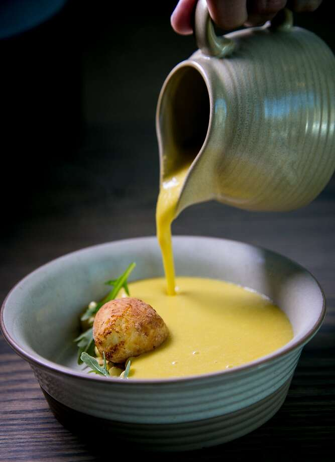 The sweet corn soup at Trestle. Photo: John Storey, Special To The Chronicle
