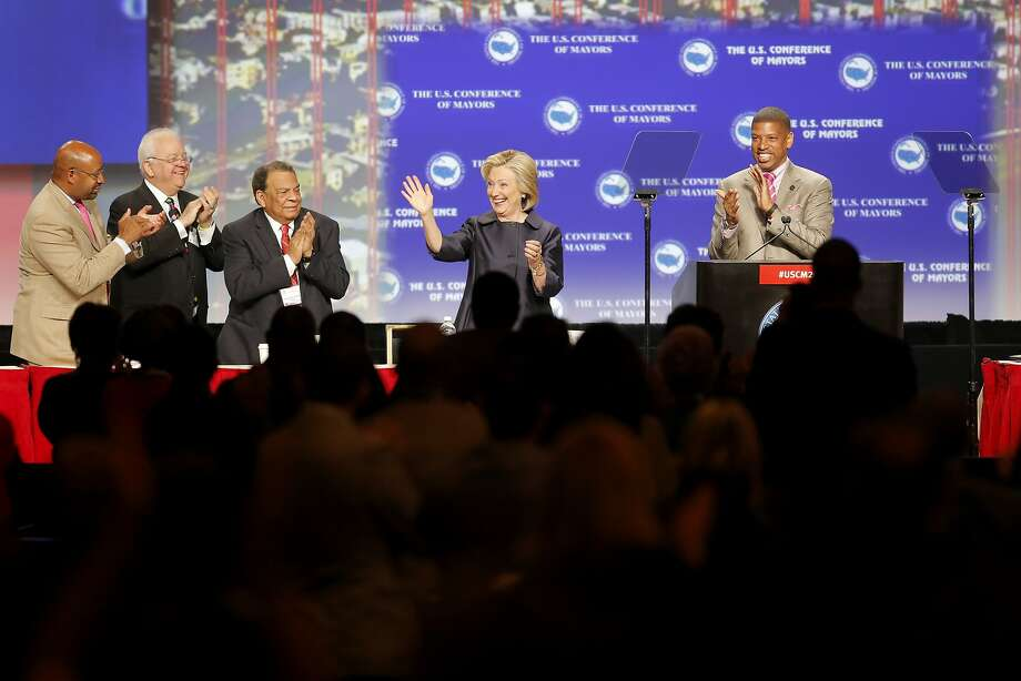 Democratic presidential candidate Hillary Clinton waves to the crowd before her speech at the U.S. Conference of Mayors in San Francisco, California, on Saturday, June 20, 2015. Clinton spoke about the shooting in Charleston and the continued existence of racism in the United States. Photo: Connor Radnovich, The Chronicle