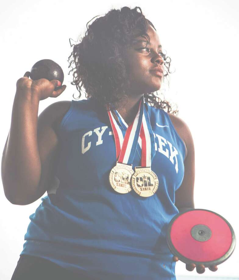 Cypress Creek senior Meia Gordon won Class 6A state titles in the shot put and discus this year. She will compete for the University of Oklahoma in the fall. Photo: Brett Coomer, Staff / © 2015 Houston Chronicle